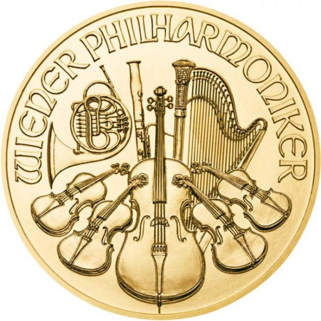 Zlatá investiční mince Wiener Philharmoniker 15,55 g – první strana