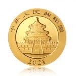 Zlatá investiční mince China Panda (Čínská panda) 8 g – druhá strana