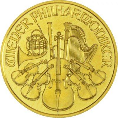 Zlatá investiční mince Wiener Philharmoniker 1/10 Oz – první strana