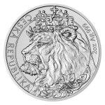 Stříbrná dvouuncová investiční mince Český lev 2021 stand 62,2 g - první strana