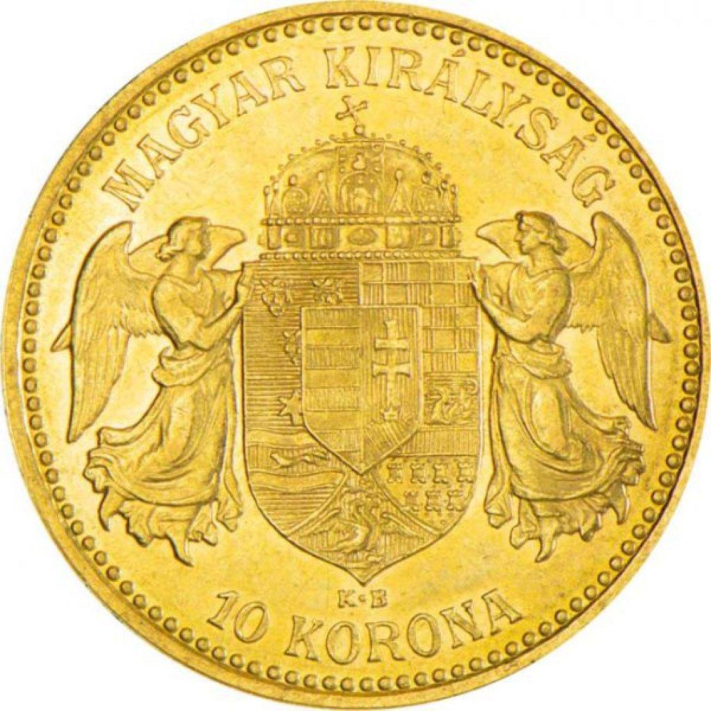 Zlatá mince 10 Korun Maďarsko 3,05 g - první strana
