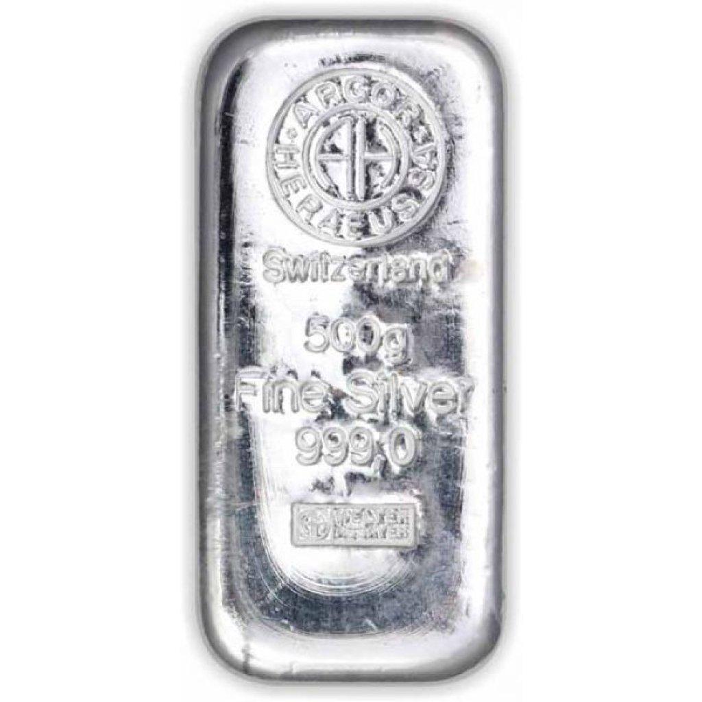 Stříbrný investiční slitek Argor-Heraeus 500 g - první obrázek