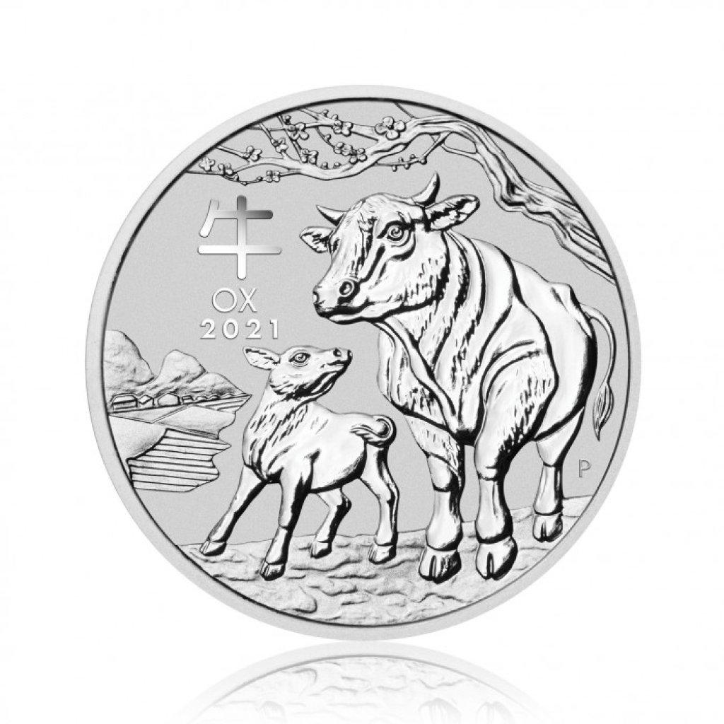 Stříbrná investiční mince Australská Lunární Série III. 2021 Buvol 31,1 g (1 Oz) - první strana