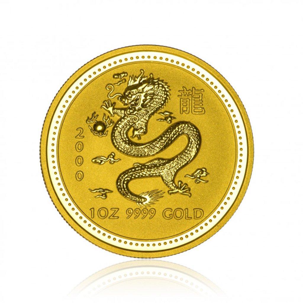 Zlatá investiční mince Australská Lunární Série I. 2000 Drak 31,1 g - 1. strana