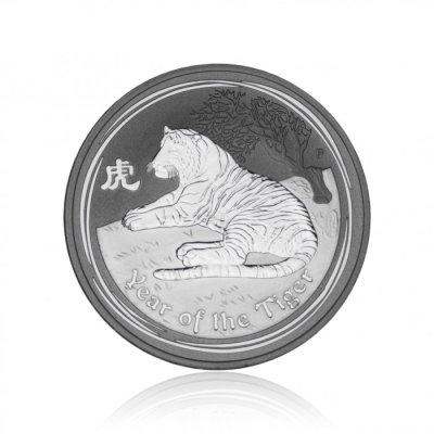 Stříbrná investiční mince Australská Lunární Série II. 2010 Tygr 31,10 g (1 Oz) - 1. strana