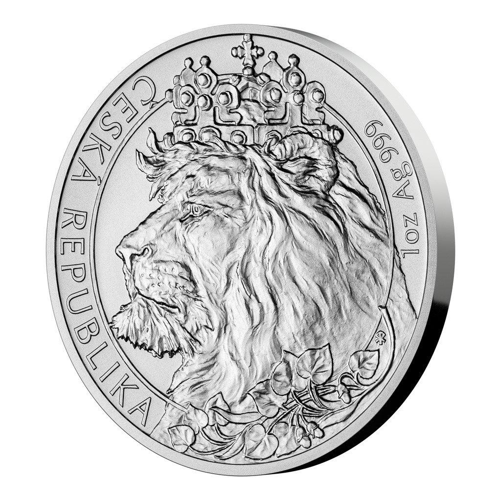 Stříbrná uncová investiční mince Český lev 2021 stand 31,1 g (1 Oz) - první strana