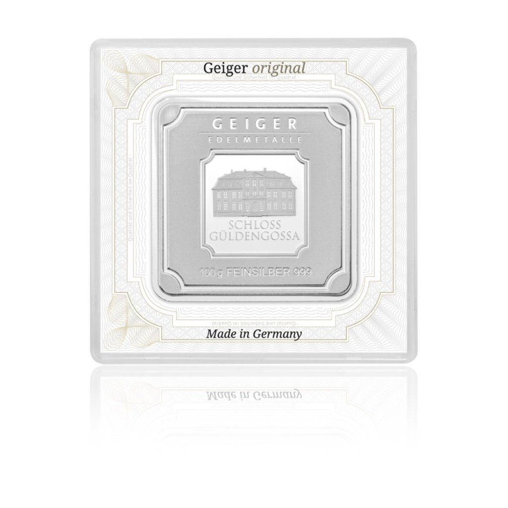 Stříbrný investiční slitek GEIGER Originál 100 g - 1. strana