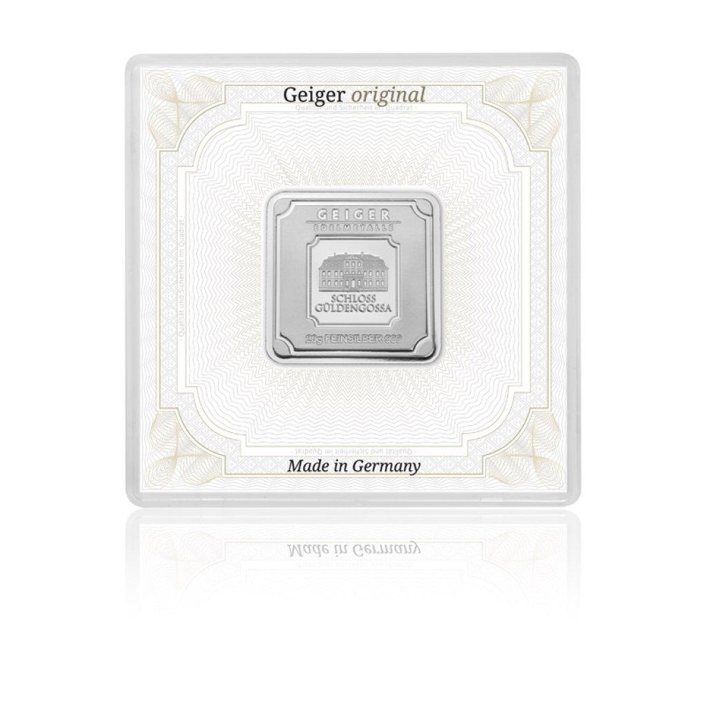 Stříbrný investiční slitek GEIGER Originál 20 g - 1. strana