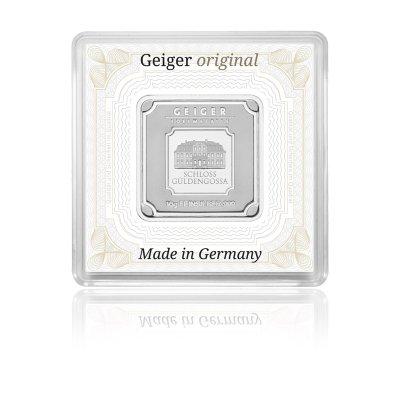 Stříbrný investiční slitek GEIGER Originál 10 g - 1. strana