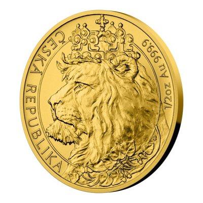 Zlatá 1/2oz investiční mince Český lev 2021 stand 15,55 g - první strana další obrázek