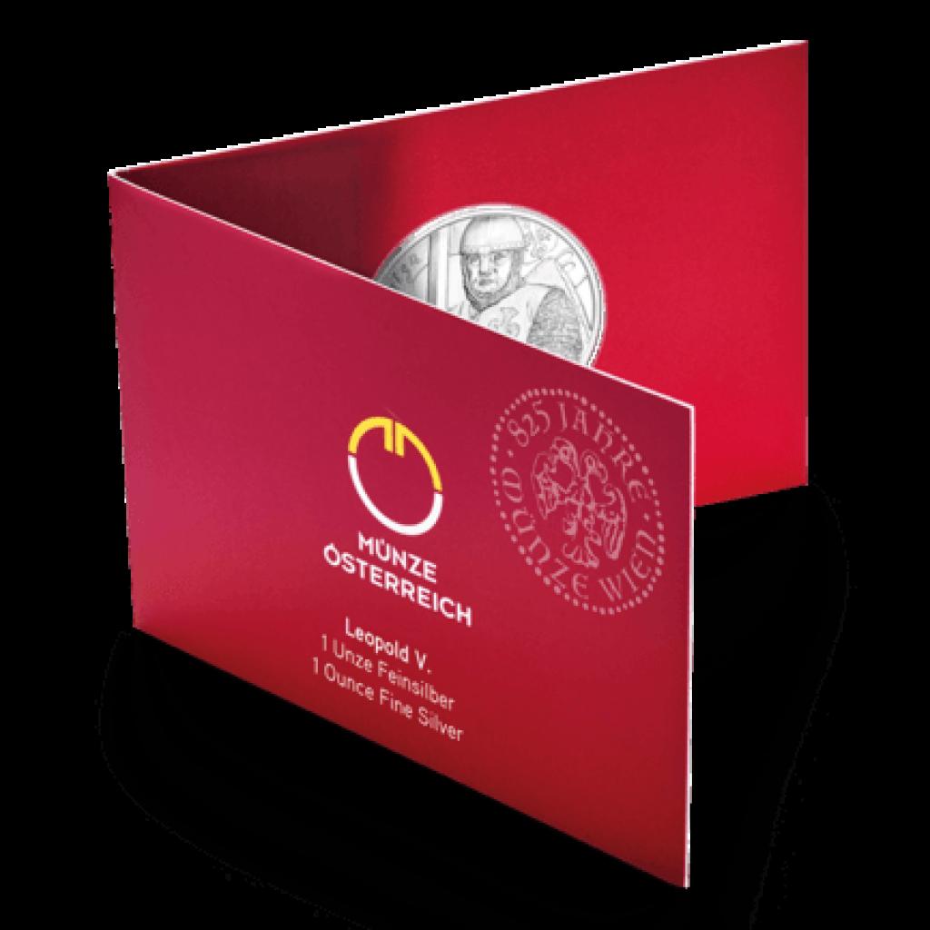 Stříbrná mince 825. výročí Vídeňské Mincovny - Leopold V. blistr - 31,1 g (1 Oz) - blistr