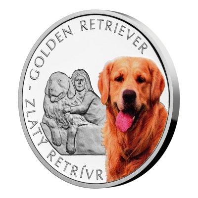 Stříbrná mince Psí plemena - Zlatý retrívr proof 31,1 g - obrázek 1
