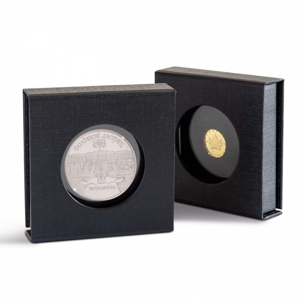 Etuje AIRBOX s průhledem černý karton pro 1 čtvercovou mincovní kapsli 50 x 50 mm - obrázek 1