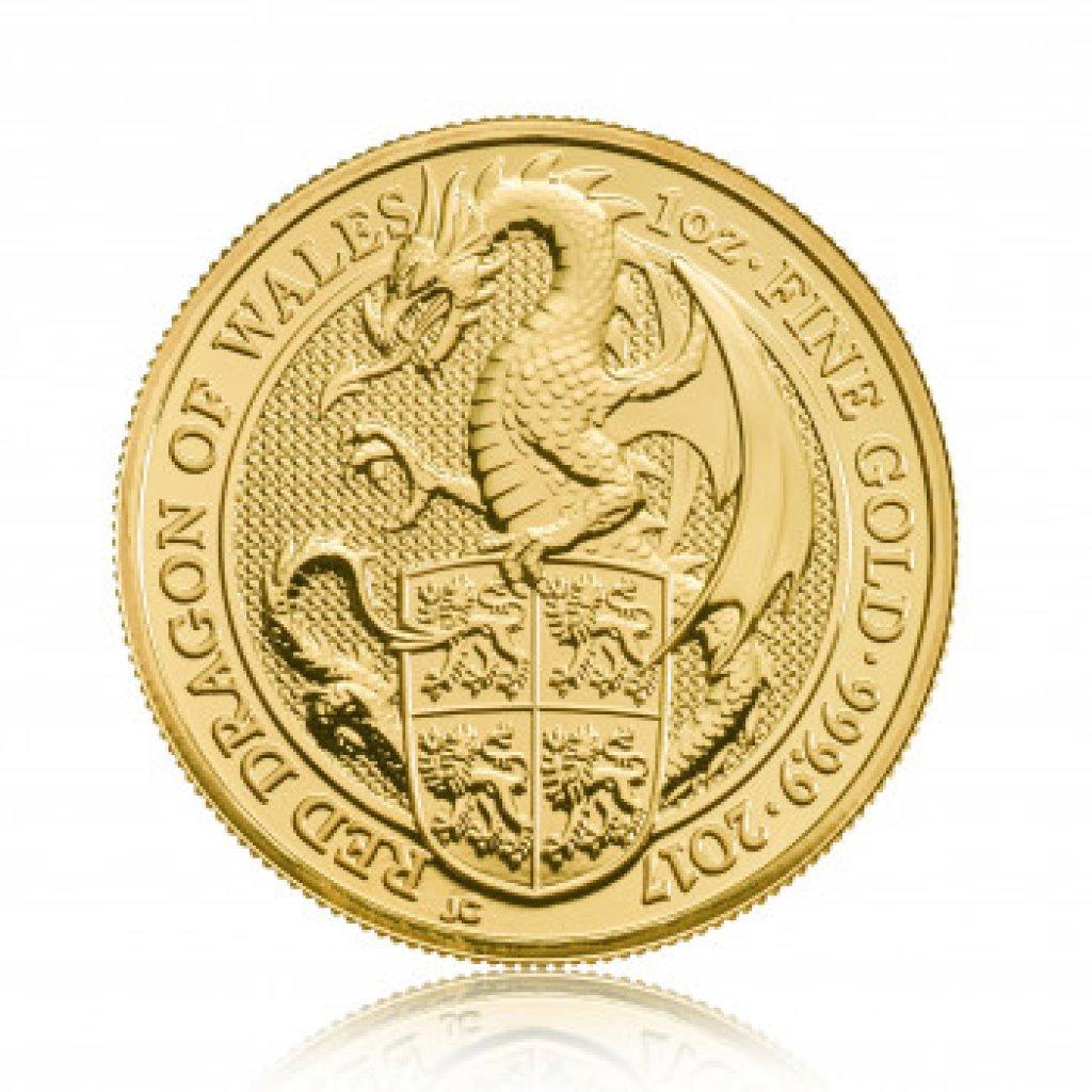 Zlatá investiční mince The Queen's Beast 2017 Dragon 31,1 g - obrázek 1