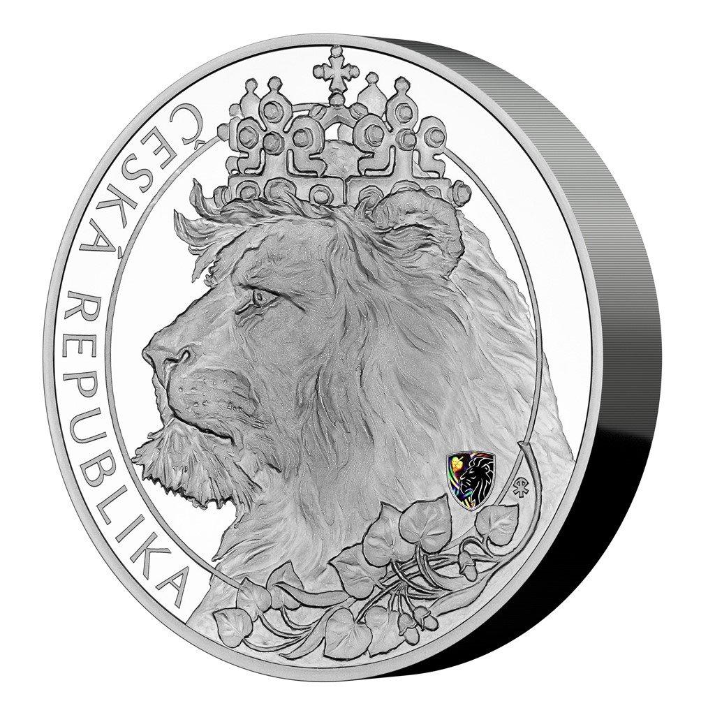 Stříbrná tří kilogramová investiční mince Český lev 2021 s hologramem proof 3000 g - obrázek 1