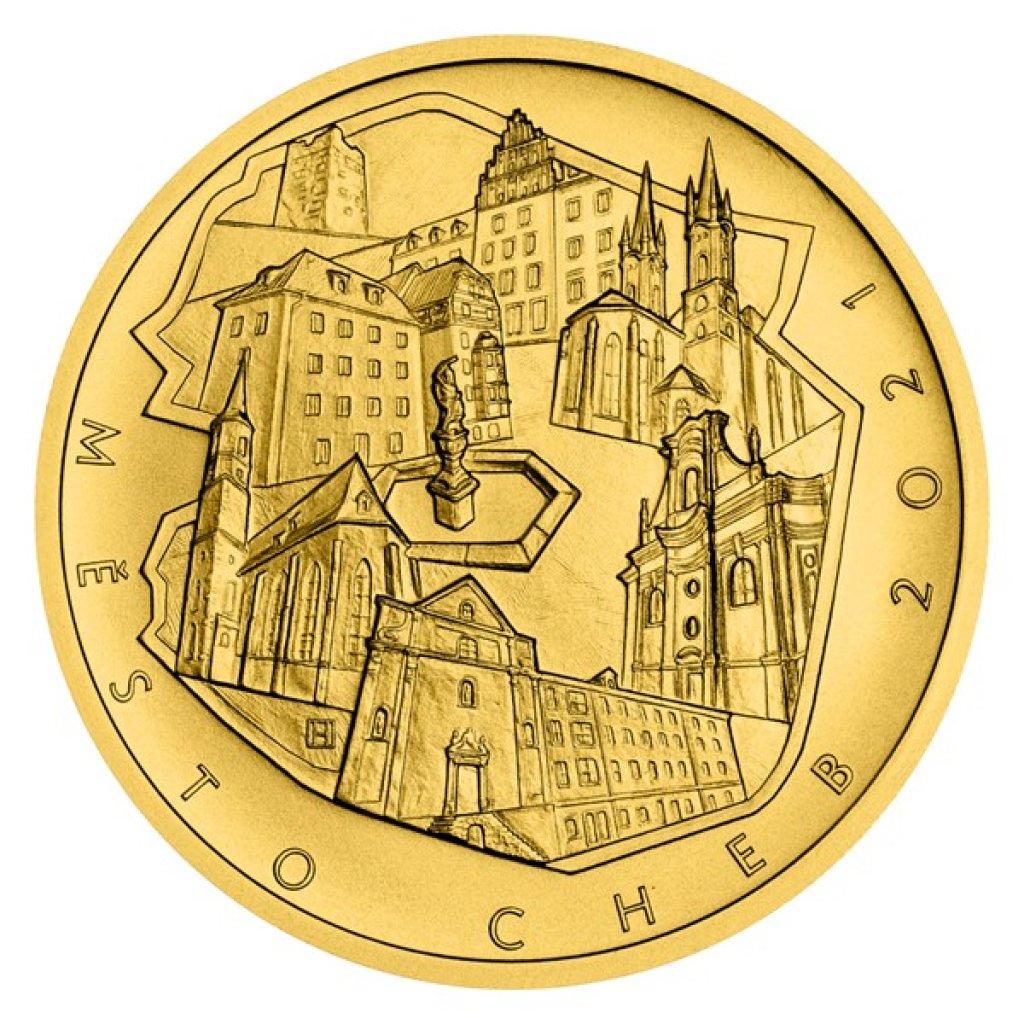 Zlatá mince 5000 Kč Městská památková rezervace Cheb 2021 STANDARD 15,55 g - obrázek 1